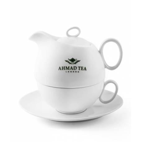 Bílý čajový set (konvička + hrneček + podšálek )